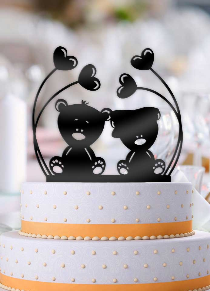 Love Teddy Bears Wedding Cake Topper - Bee3dgifts