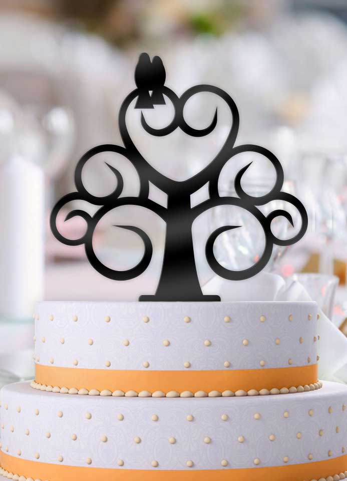 Love Birds Curly Tree Wedding Cake Topper