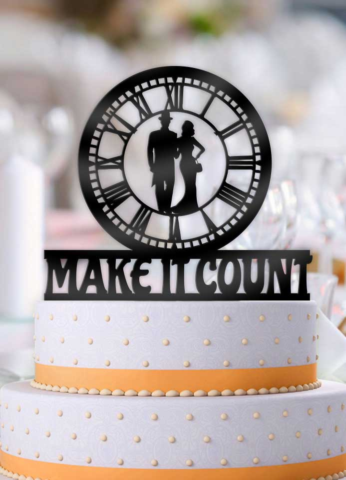 Make it Count Classy Couple Wedding Cake Topper - Bee3dgifts