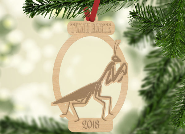 Personalized Christmas Praying Mantis with Location and Year Engraved Holiday Christmas Ornament - Bee3dgifts