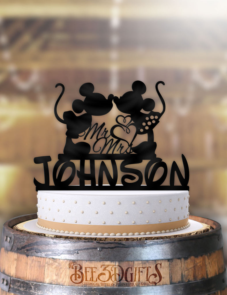 Personalized Mickey and Minnie Kiss Double Hearts with Name Cake Topper - Bee3dgifts