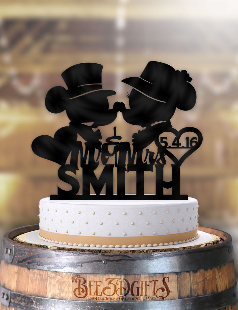 Personalized Classy Mickey and Minnie Kiss Heart with Name and Date Cake Topper - Bee3dgifts