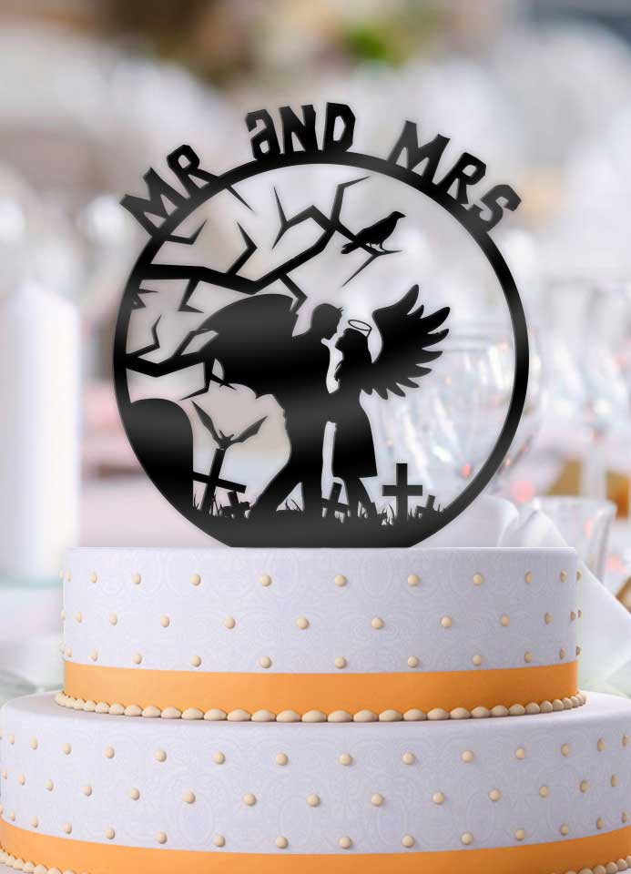Devil and Angel Mr and Mrs Wedding Cake Topper - Bee3dgifts