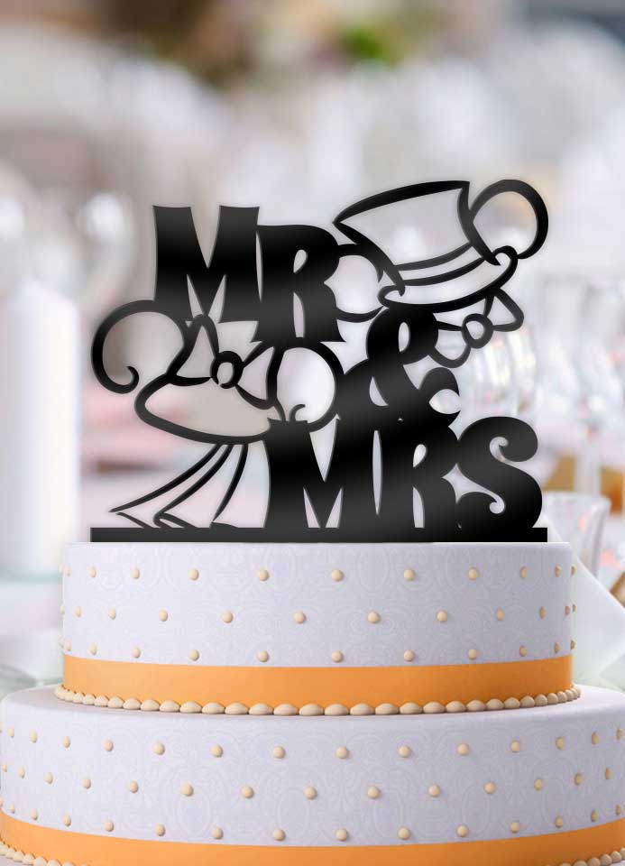 Mickey and Minnie Top hat and Veil Outline Wedding Cake Topper - Bee3dgifts