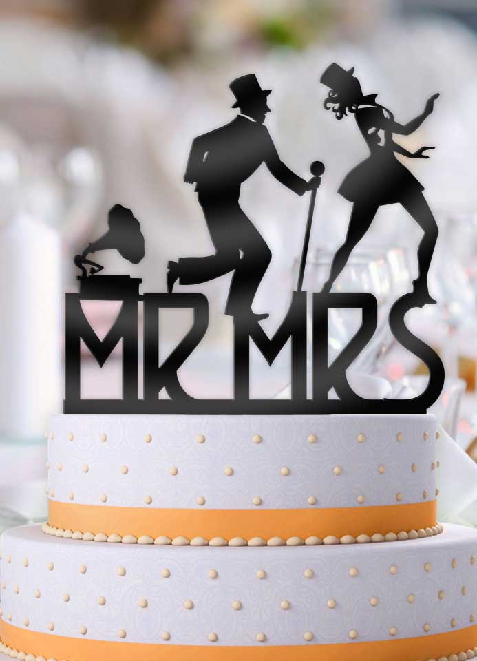 Fred and Ginger Mr and Mrs Wedding Cake Topper - Bee3dgifts