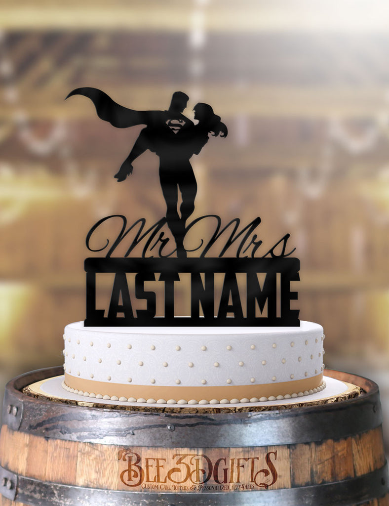 Personalized Superman Flying Away Bride with Name Cake Topper - Bee3dgifts