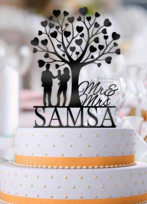 Personalized Mr Mrs Love Tree with Couple holding Baby Wedding Cake Topper - Bee3dgifts