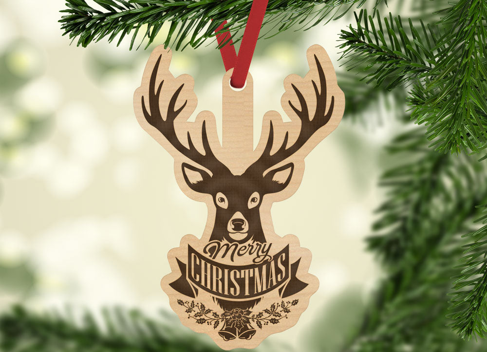 Merry Christmas Deer Buck Engraved Holiday Christmas Ornament - Bee3dgifts