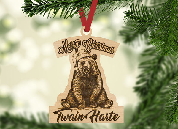 Personalized Merry Christmas Black Bear Santa Hat with location Engraved Holiday Christmas Ornament - Bee3dgifts