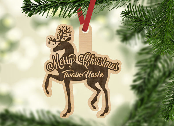 Personalized Merry Christmas Deer Buck with location Engraved Holiday Christmas Ornament - Bee3dgifts