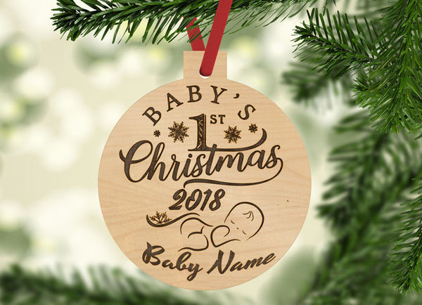 Personalized Baby's 1st Christmas Year and Name Engraved Holiday Christmas Ornament - Bee3dgifts