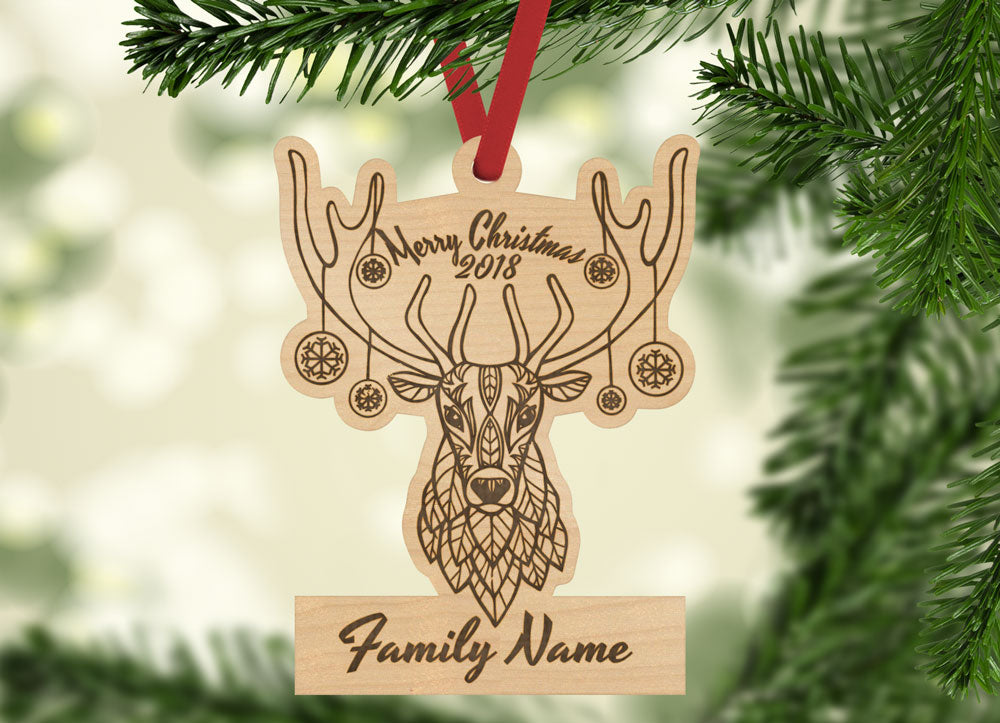 Personalized Merry Christmas Deer Decorated Antlers Year and Family Name Engraved Holiday Christmas Ornament - Bee3dgifts