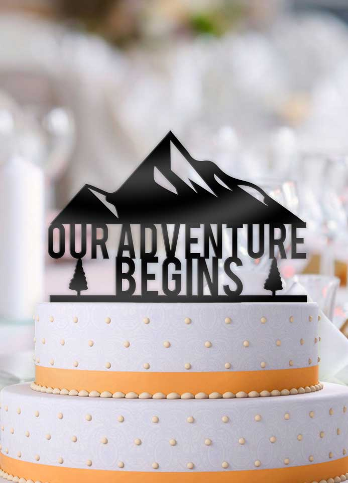 Our Adventure Begins Mountainside Cake Topper - Bee3dgifts