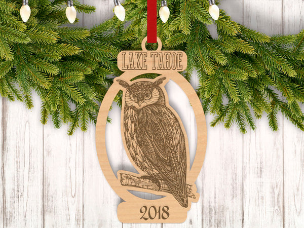 Personalized Christmas Owl Perched with Location and Year Engraved Holiday Christmas Ornament - Bee3dgifts