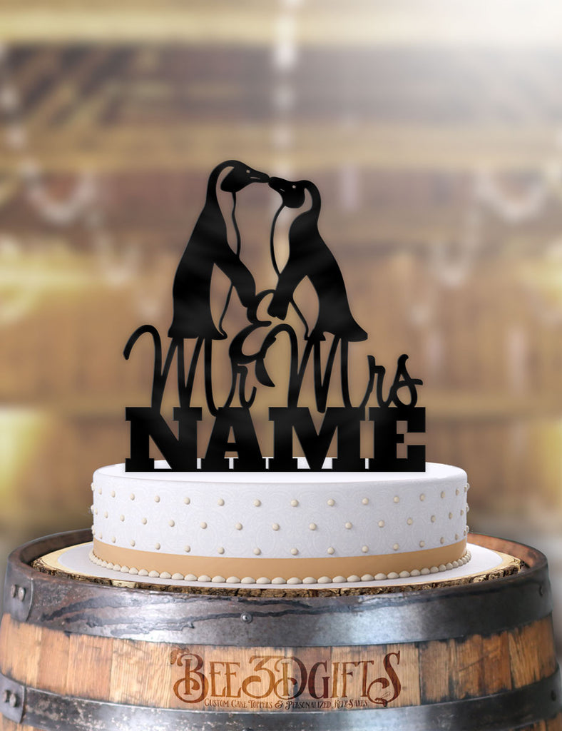 Personalized Penguins with Name Cake Topper - Bee3dgifts