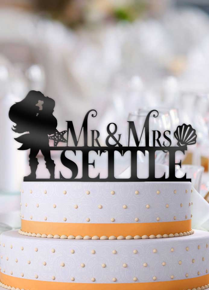 Personalized Eric Holding Ariel Mr Mrs with Name Wedding Cake Topper ...