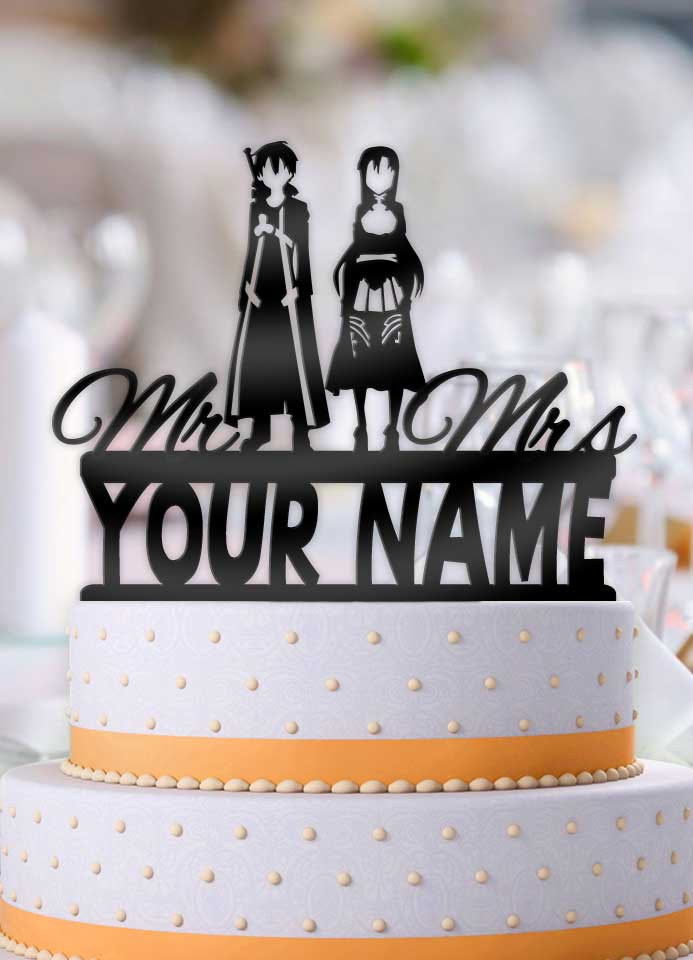 Personalized Sword Art Online Kirito and Asuna with Name Wedding Cake Topper - Bee3dgifts