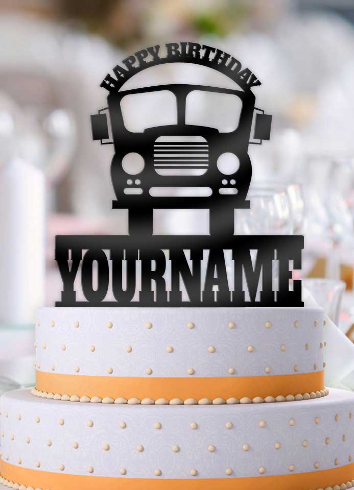 Personalized Bus Birthday Cake Topper - Bee3dgifts