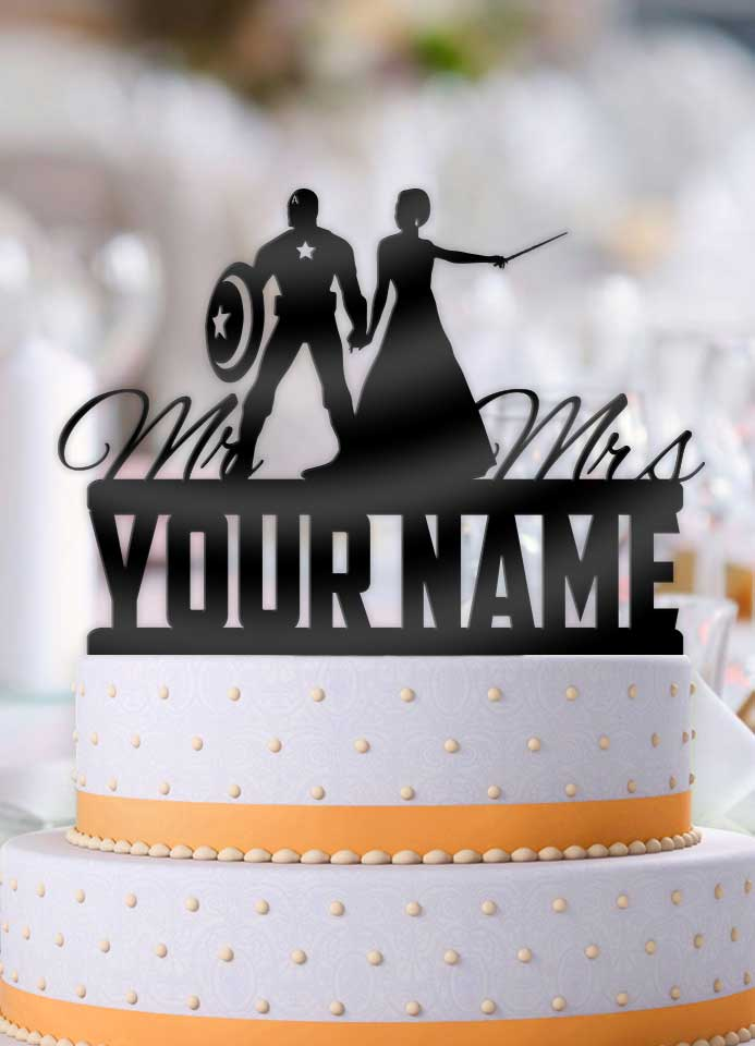 Personalized Captain America with Mage Bride with Name Wedding Cake Topper - Bee3dgifts