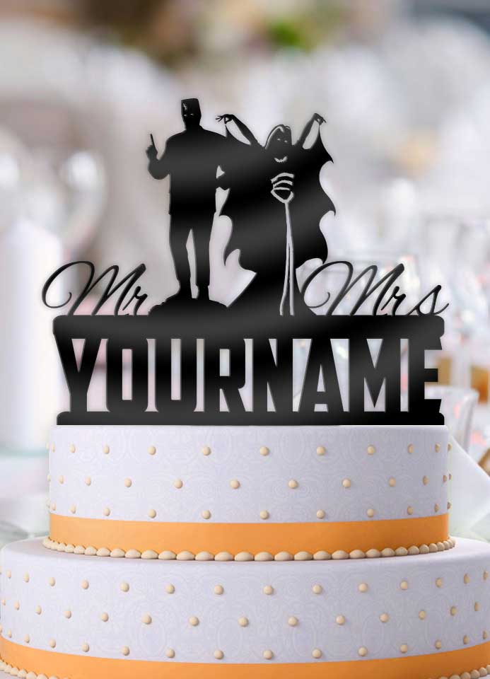 Personalized Munster Mash Lily and Herman Munster with Name Wedding Cake Topper - Bee3dgifts