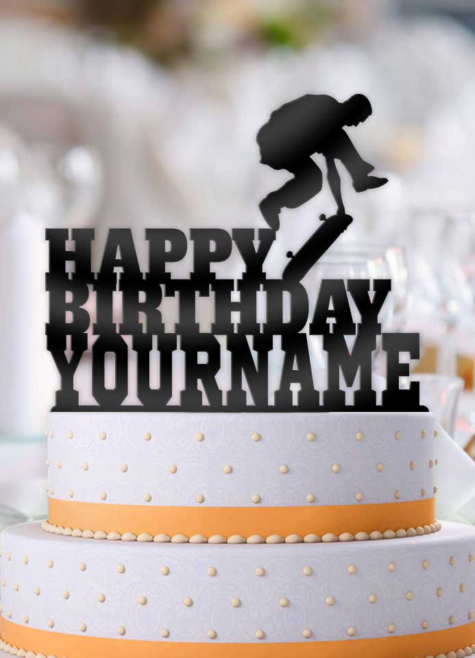 Personalized Skate Boarder Jump Birthday Cake Topper - Bee3dgifts