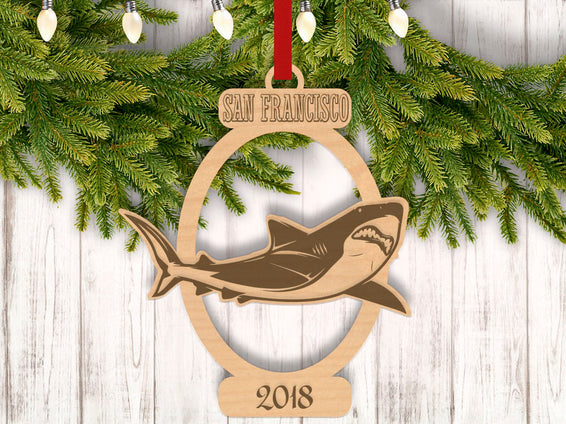 Personalized Christmas Shark with Location and Year Engraved Holiday Christmas Ornament - Bee3dgifts