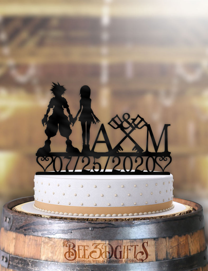 Personalized Sora and Kairi Keyblades with Initials and Date Cake Topper - Bee3dgifts