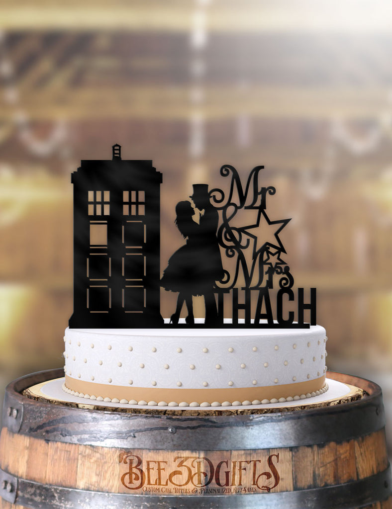 Personalized Tardis Serenade with Name Cake Topper - Bee3dgifts