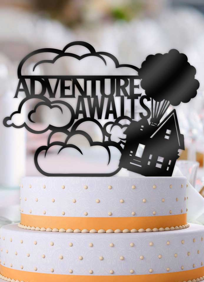 Up Balloon House Adventure Awaits Wedding Cake Topper - Bee3dgifts