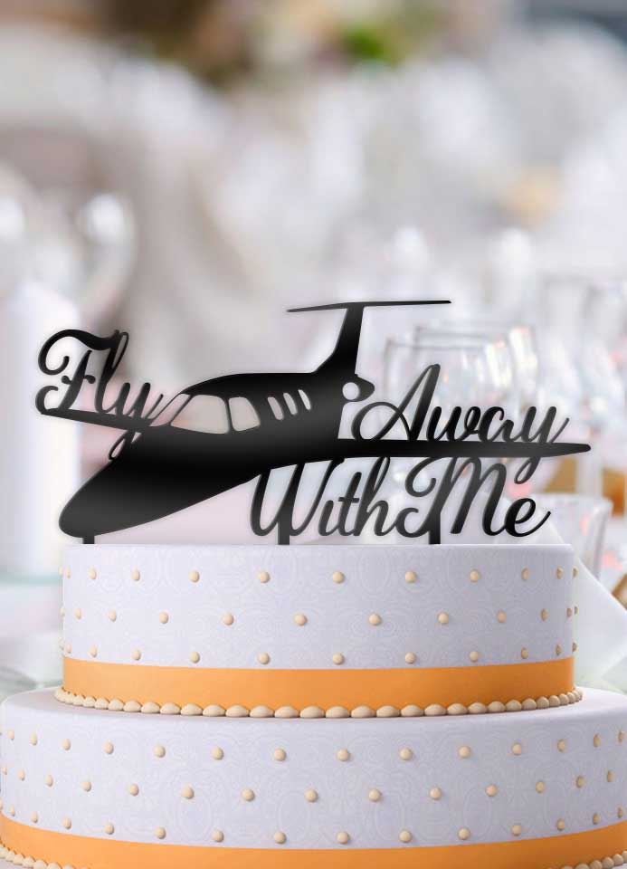 Private Jet Airplane Fly Away With Me Cake Topper - Bee3dgifts