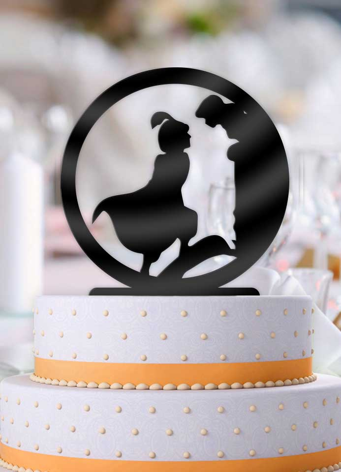 Aladdin and Jasmine Balcony Scene Wedding Cake Topper