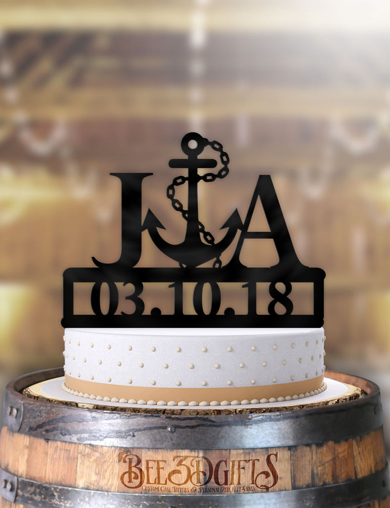 Personalized Nautical Anchor with Initials and Date Cake Topper - Bee3dgifts