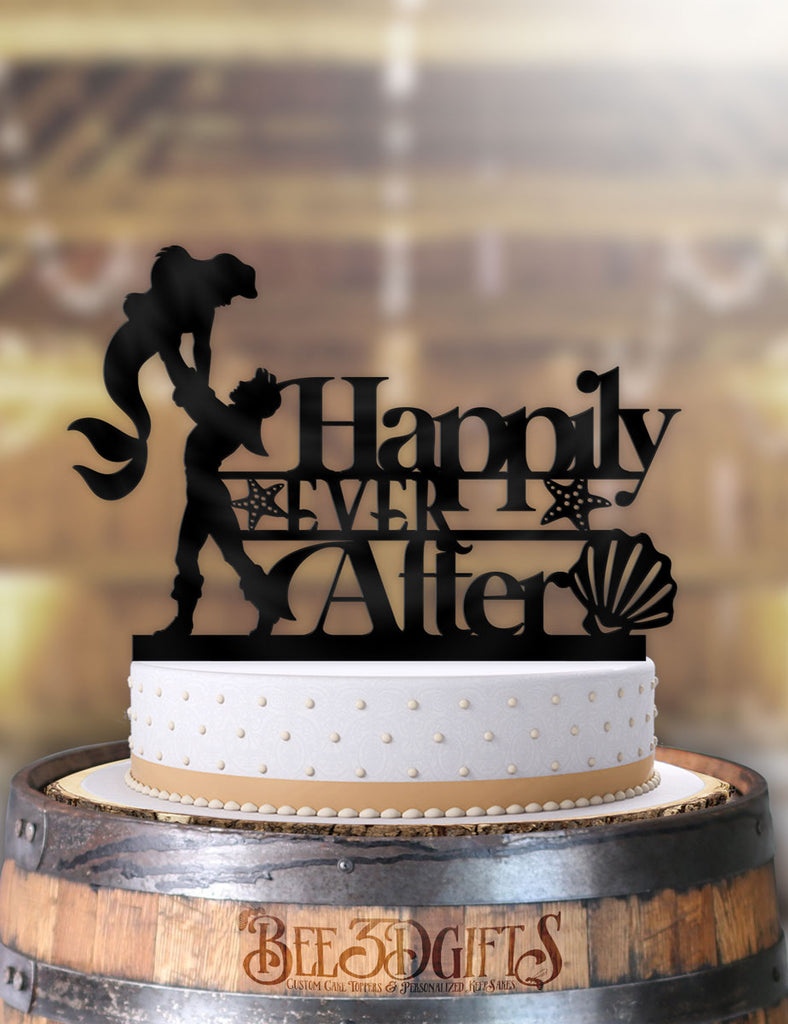 Ariel and Eric Happily Ever After Cake Topper - Bee3dgifts