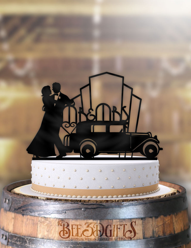 Art Deco Classic Mr and Mrs Cake Topper - Bee3dgifts