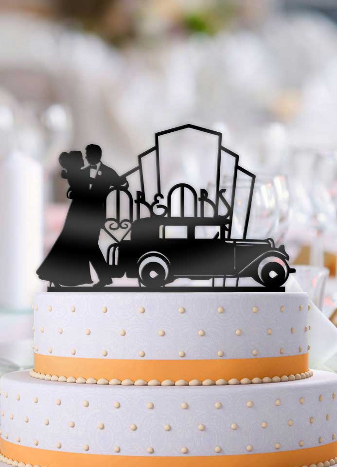 Art Deco Classic Mr and Mrs Wedding Cake Topper - Bee3dgifts
