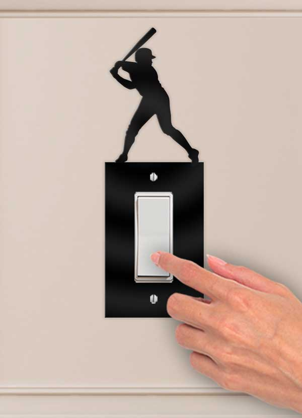 Baseball Batter Decorative Wall Switch Outlet Plate - Bee3dgifts