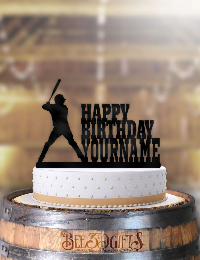 Awesome Personalized Baseball Batters Up Birthday Cake Topper Personalised Birthday Cards Epsylily Jamesorg