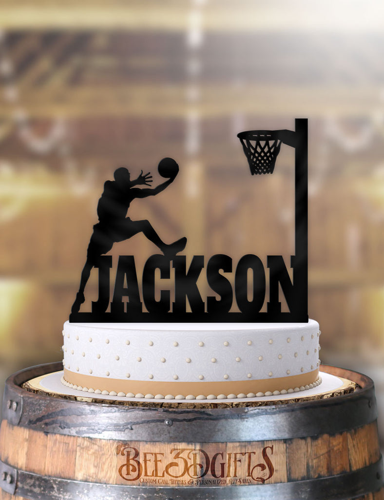 Personalized Basketball Male Alley-oop Birthday Cake Topper - Bee3dgifts