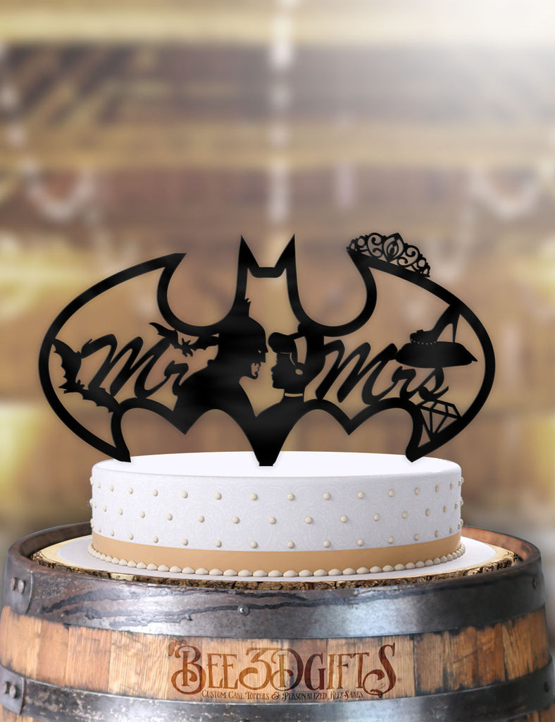 Batman and Cinderella Bat Logo Mr Mrs Cake Topper - Bee3dgifts