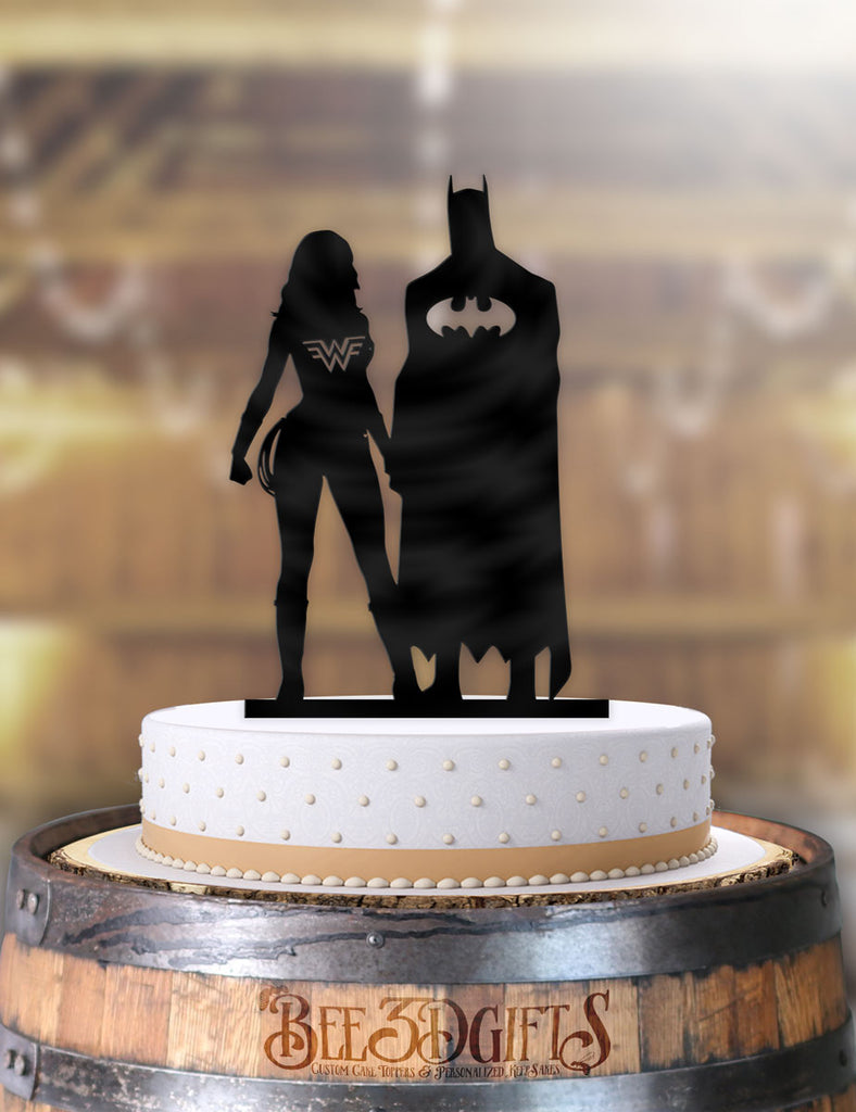 Batman and Wonder Woman Standing Together Cake Topper - Bee3dgifts