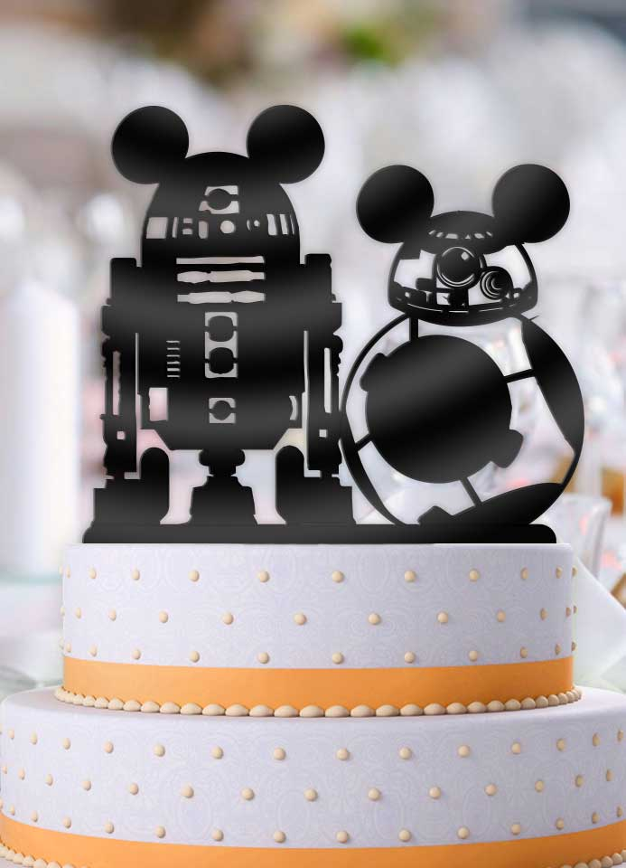 Star Wars BB-8 R2D2 with Mouse Ears Wedding Cake Topper - Bee3dgifts