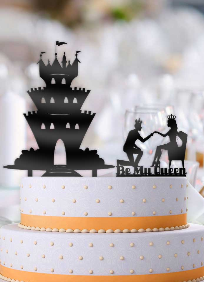 Be My Queen Proposing Couple with Castle 2 piece Wedding Cake Topper - Bee3dgifts