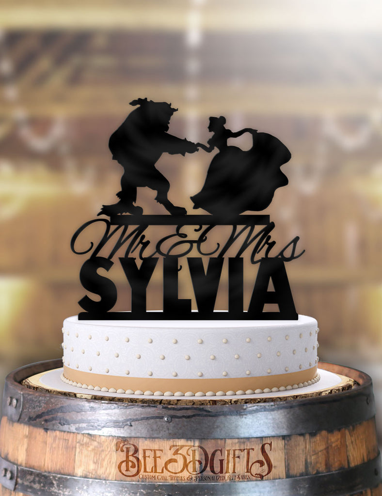 Personalized Beauty and the Beast Dance Curtsey with Rose Mr Mrs with Name Cake Topper - Bee3dgifts