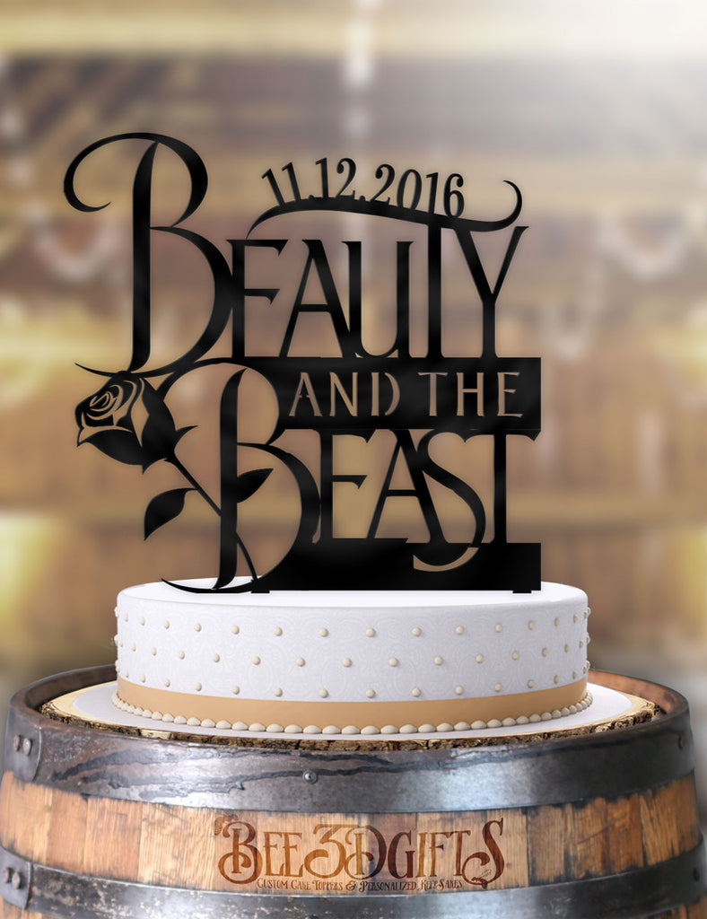 Personalized Beauty and the Beast Logo with Date Cake Topper - Bee3dgifts