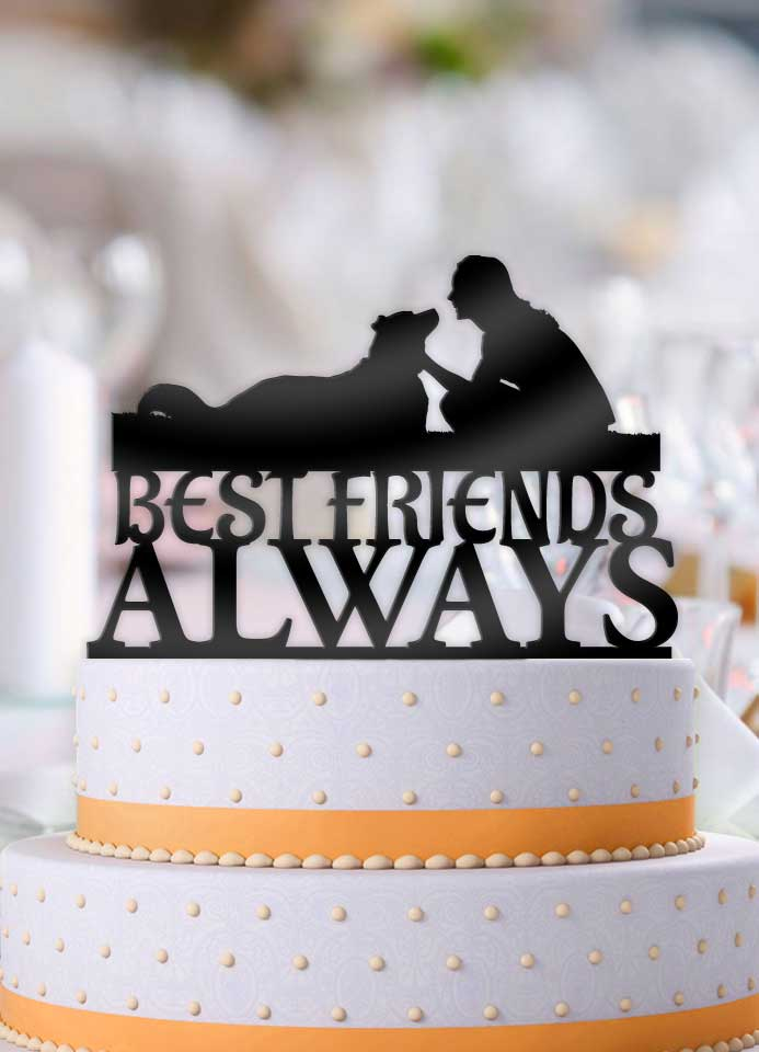 Best Friends Always Female Dog Cuddle Cake Topper - Bee3dgifts