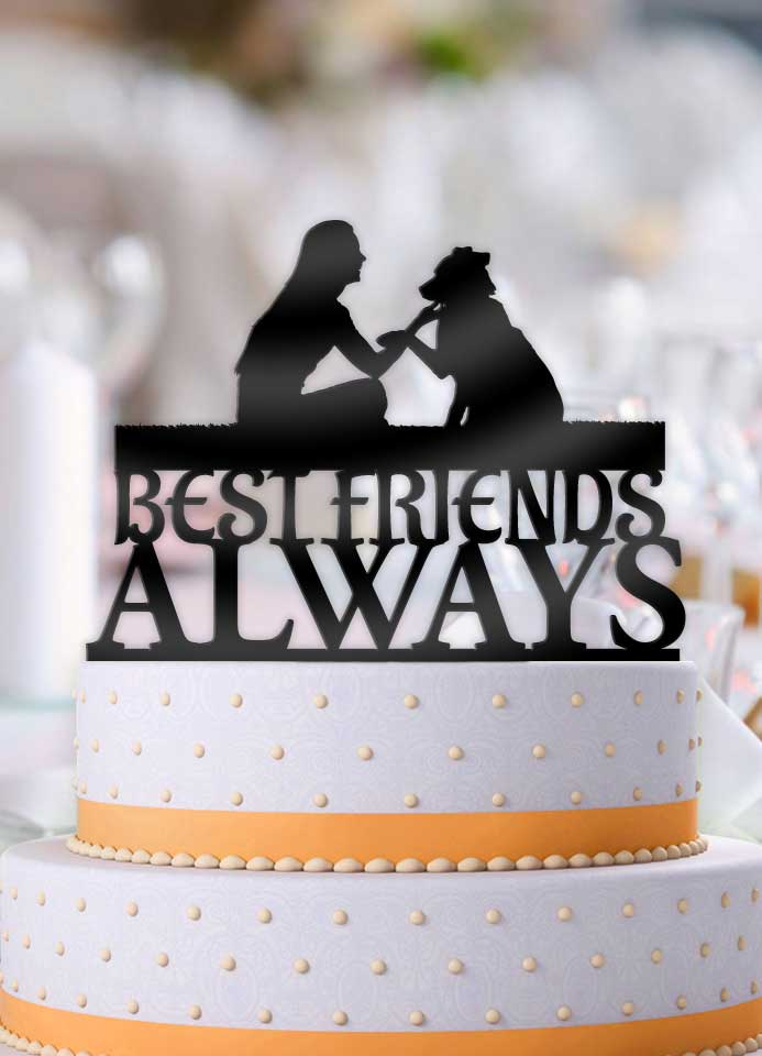 Best Friends Always Female Dog Lover Shake Cake Topper - Bee3dgifts