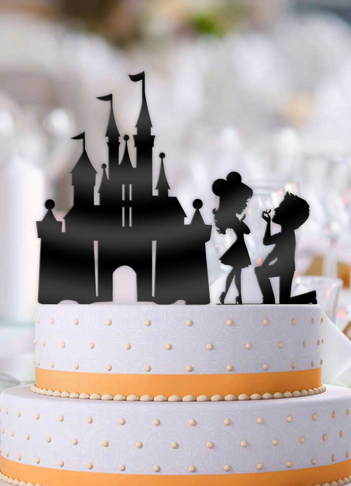 Big Head Proposing Couple with Castle 2 Piece Wedding Cake Topper - Bee3dgifts