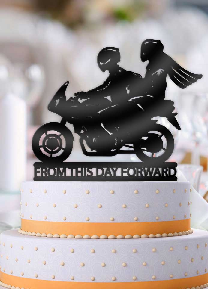 Motorcycle Couple From This Day Forward Wedding Cake Topper Bee3dgifts