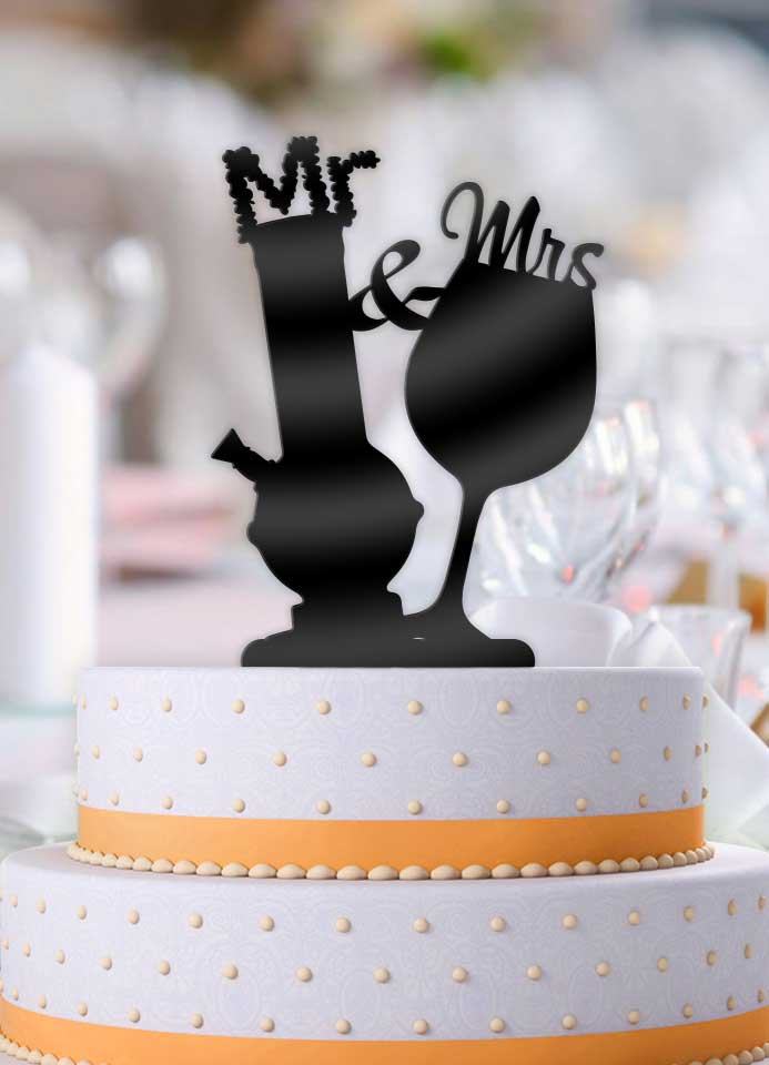 Mr and Mrs Bong and Wine Glass Wedding Cake Topper - Bee3dgifts