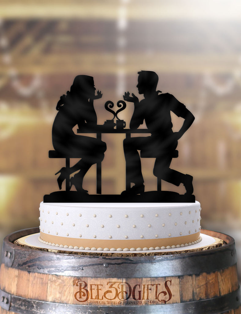 Cafe Love Couple Cake Topper - Bee3dgifts
